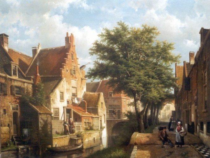 Willem Koekkoek, Zonnig stadsgrachtje in IJsselstein, datum onbekend