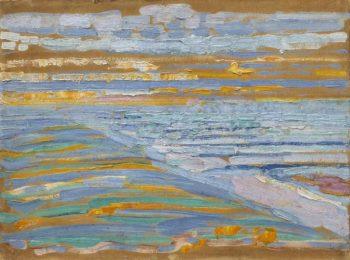Piet Mondriaan, Gezicht op strand en pier vanaf de duinen, Domburg, 1909