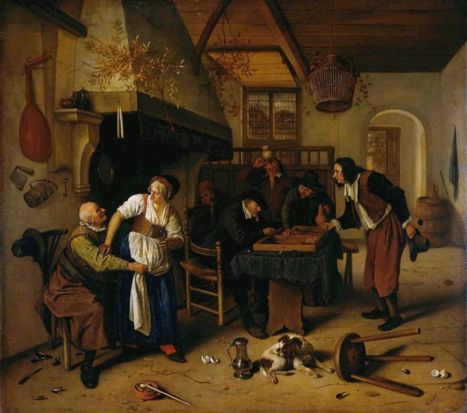 Jan Havickszoon Steen, Herberginterieur (tweeërlei spel), 1660 - 1679