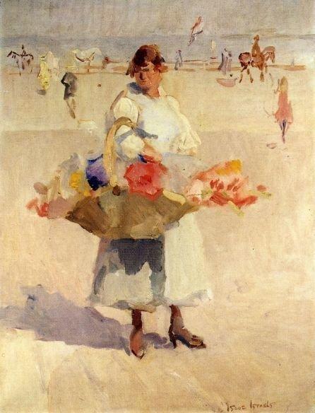 I. Israëls, Een bloemenmeisje op het strand