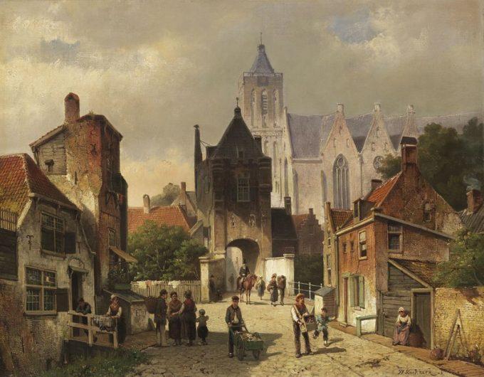 Willem Koekkoek, Nederlands stadsgezicht, 1839-1895