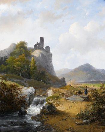 Andreas Schelfhout, Duits landschap met ruïne, 1844