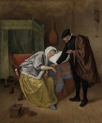 Jan Havickszoon Steen, De zieke vrouw, ca. 1663 – ca. 1666