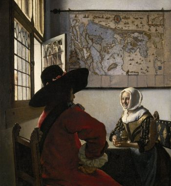Johannes Vermeer, Soldaat en lachend meisje, ca. 1657