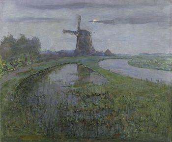 Piet Mondriaan, Oostzijdse molen aan het Gein bij maanlicht, ca. 1903