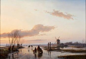 Andreas Schelfhout, Bevroren vaart, 1845