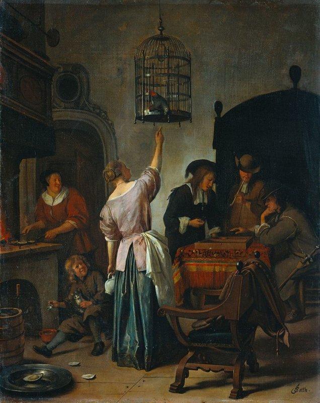 Jan Havickszoon Steen, Interieur met een vrouw die een papegaai voert, bekend als 'De papegaaiekooi', ca. 1660 - ca. 1670