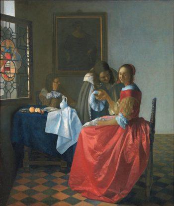 Johannes Vermeer, Dame en twee heren (Het meisje met het wijnglas), ca. 1659-1660