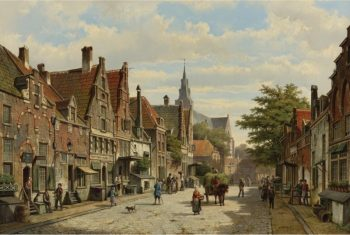 Willem Koekkoek, Pratende figuren in een Nederlandse stad, 1839-1895