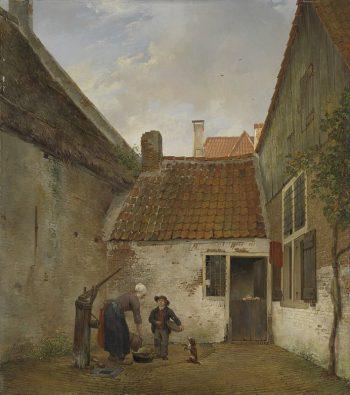 Andreas Schelfhout, Binnenplaatsje, 1820-1830