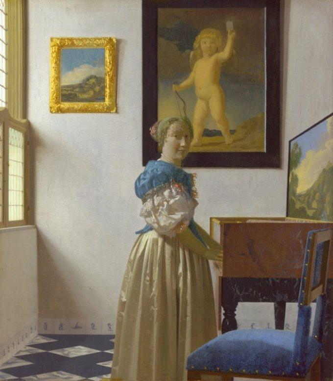 Johannes Vermeer, Staande vrouw aan het virginaal, ca. 1670-1672