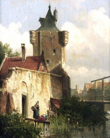 Willem Koekkoek, Figuren langs de kant van een kanaal, 1839-1895