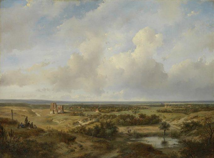 Andreas Schelfhout, Duingezicht met de ruïne van kasteel Brederode bij Santpoort, 1844