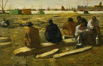 George Hendrik Breitner, Schafttijd in de bouwput aan de Van Diemenstraat in Amsterdam, 1897