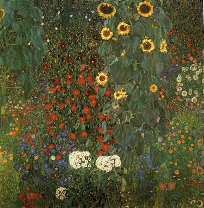 Gustav Klimt, Bostuin met zonnebloemen, 1906