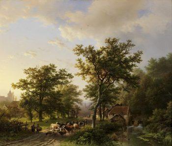 B.C. Koekkoek, Landschap met watermolen en vee drijvende boeren
