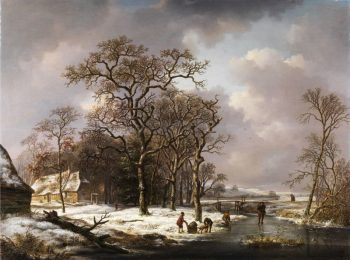 Andreas Schelfhout, Winterlandschap met knoestige eiken