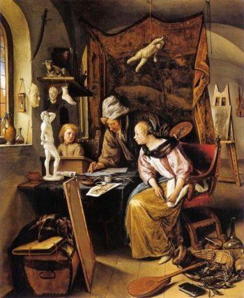 Jan Havickszoon Steen, Allegorie op de schilderkunst (Tekenles),  1666-1668