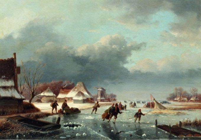 Andreas Schelfhout, Schaatsers op een bevroren rivier