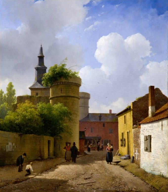 Andreas Schelfhout, Straatje in Huy, ca 1824