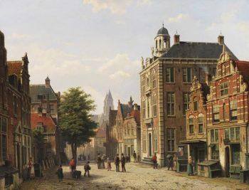Willem Koekkoek, Nederlands stadsgezicht in de zomer, 1839-1895