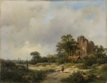 Andreas Schelfhout, Ruïne van kasteel Brederode te Santpoort, 1844
