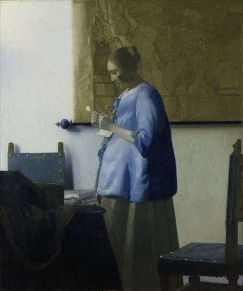 Johannes Vermeer, Brieflezende vrouw in het blauw, ca. 1662-1665