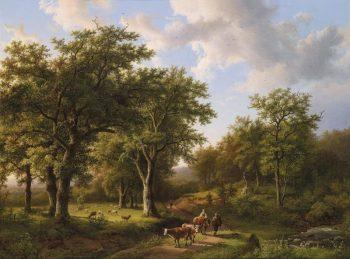 B.C. Koekkoek, Boslandschap met herten en vee