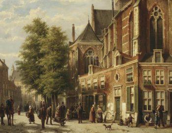 Willem Koekkoek, Talloze figuren in een zonnige straat bij een kerk, 1839-1895