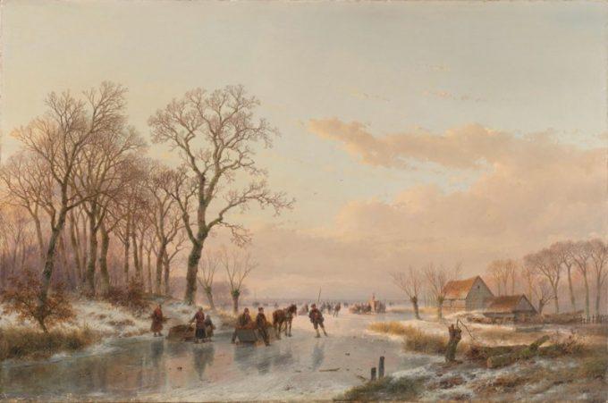 Andreas Schelfhout, Een bevroren vaart bij de Maas, 1867