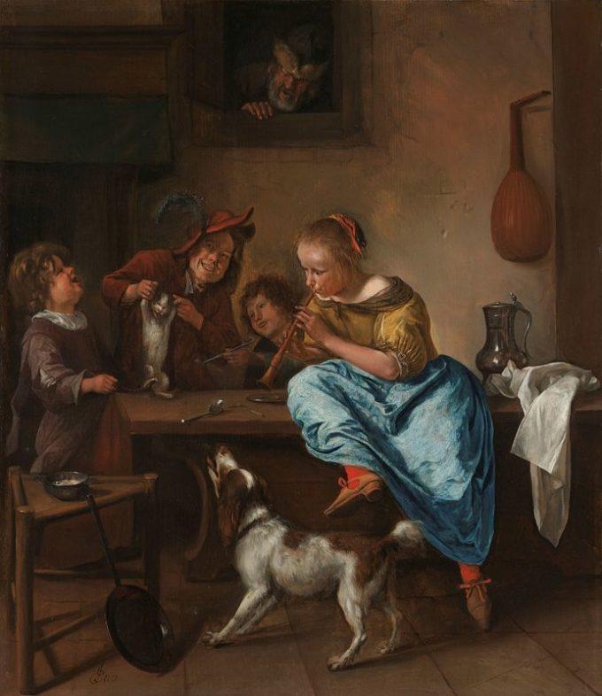 Jan Havickszoon Steen, Kinderen leren een poes dansen, bekend als 'De dansles', 1660 - 1679