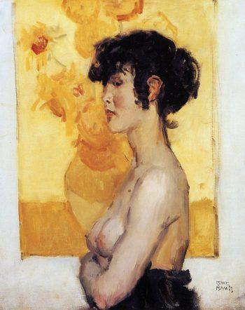 Isaac Israëls, Vrouw en profil voor de zonnebloemen van Van Gogh, 1917