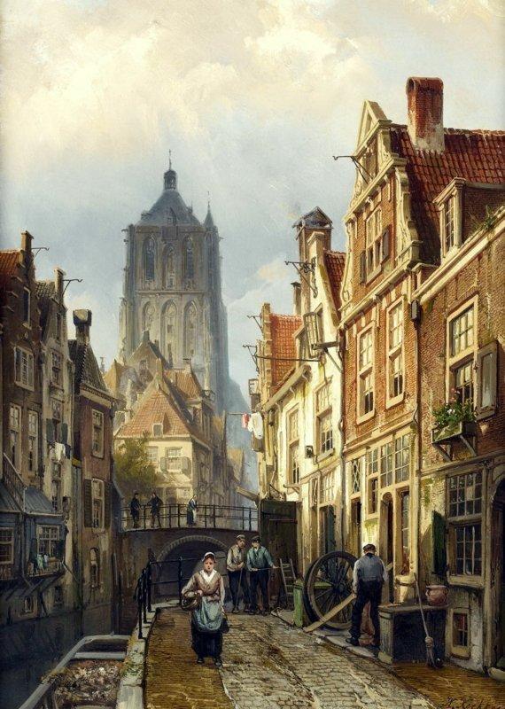 Willem Koekkoek, Hollandse straatscène langs een kanaal, 1839-1895