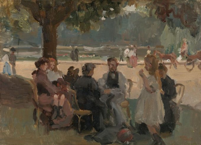 I. Israëls, in het Bois de Boulogne
