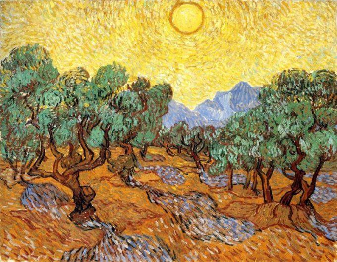 Vincent van Gogh, Olijfbomen met gele lucht en zon, 1888