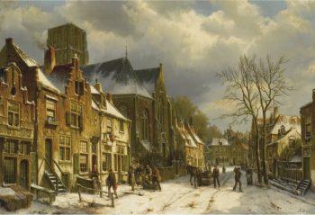Willem Koekkoek, Hollandse straatscene langs een kanaal no.2, 1839-1895