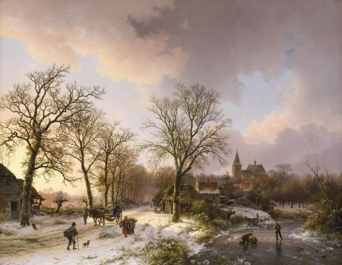 B.C. Koekkoek, Winterlandschap met figuren te bedburg