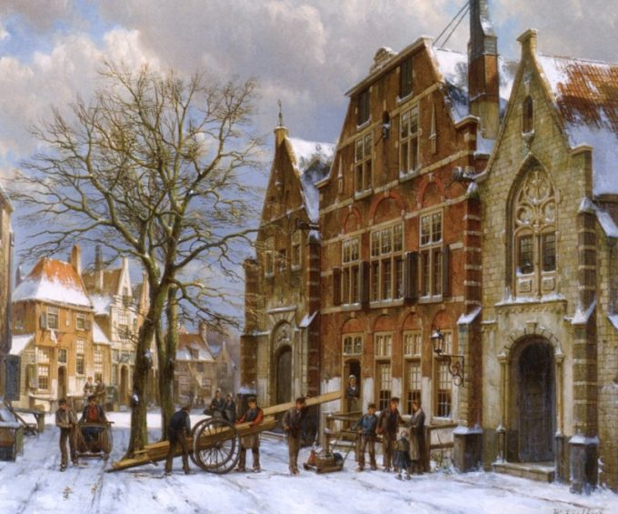 Willem Koekkoek, Winterscène in Oudewater, 1839-1895
