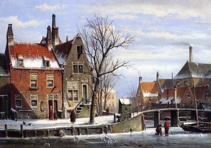 Willem Koekkoek, Stad in de winter met schaatsers, 1839-1895