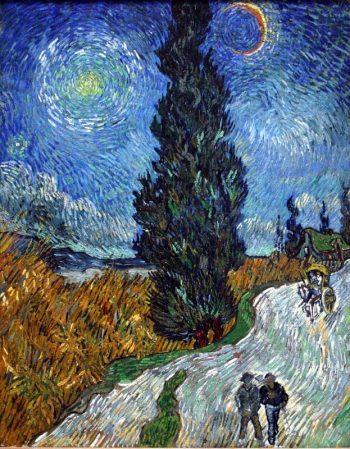 Vincent van Gogh, Landweg in de Provence bij nacht (Weg met cipres en ster), 1890