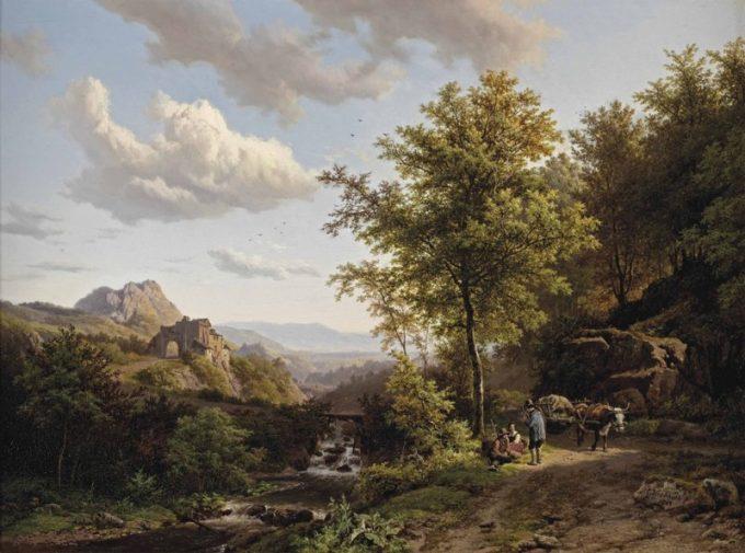 B.C. Koekkoek, Berglandschap met personen op een pad