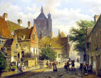 Willem Koekkoek, Dorpsbewoners in een zonnige Nederlandse straat