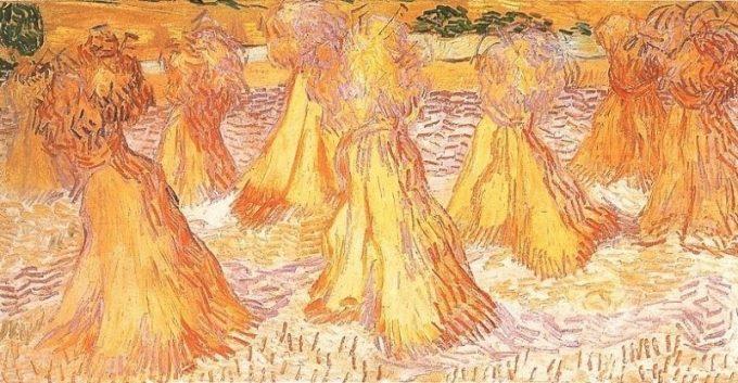 Vincent van Gogh, Veld met korenschoven, 1890
