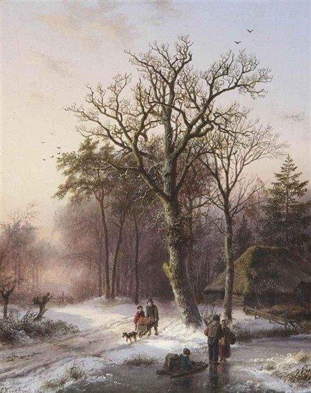 B.C. Koekkoek, Winterlandschap met mensen en slee