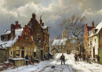 Willem Koekkoek, Mensen op straat in een winterse stad, 1839-1895