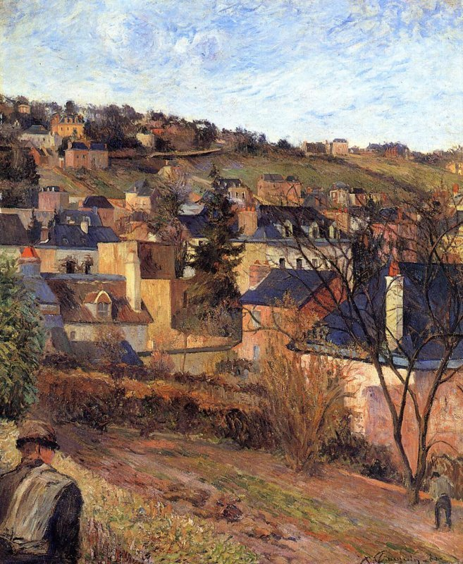 Paul Gauguin, Blauwe daken van Rouen (Les toits bleus), 1884