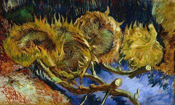 Vincent van Gogh, Vier uitgebloeide zonnebloemen, 1887