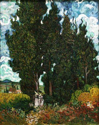 Vincent van Gogh, Cipressen en twee figuren, 1890