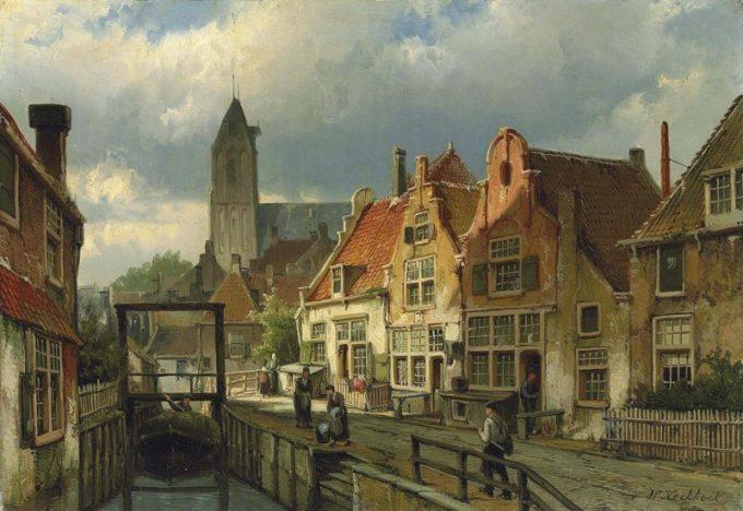 Willem Koekkoek, Figuren bij een kanaal in Oudewater