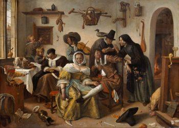 Jan Havickszoon Steen, In weelde siet toe (de omgekeerde wereld) – ca. 1670
